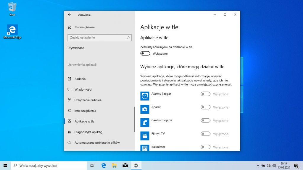 Windows 10 - wyłączanie aplikacji wtle