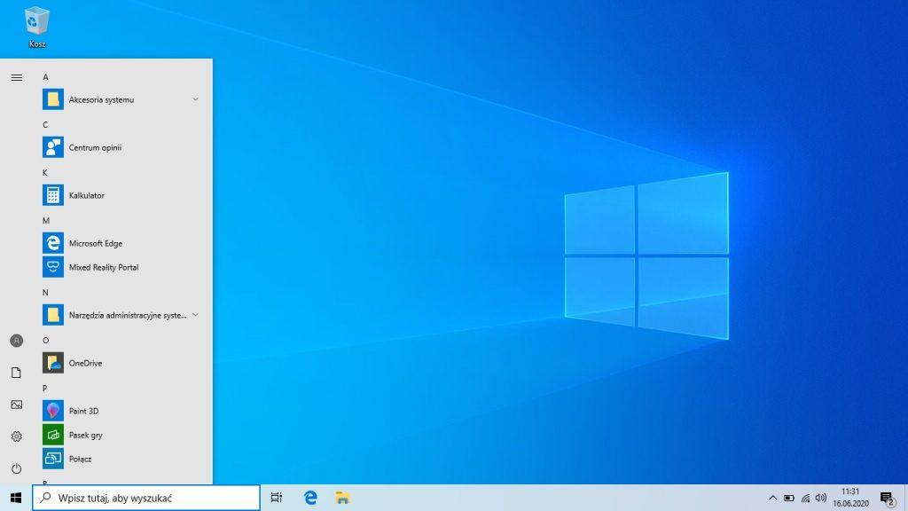 Windows 10 - pomniejszone menu