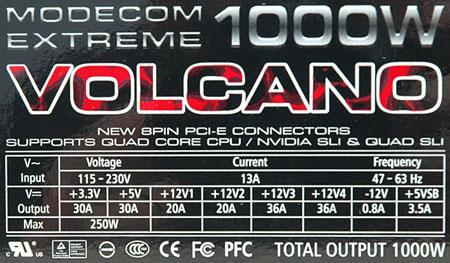 dane techniczne Modecom Volcano Extreme 1000W